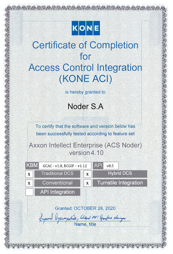 Certyfikat KONE DCS
